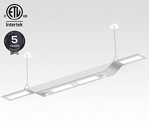 Dimmable Hybrid Architectural LED Linear Pendant Light, 60W (980W Equivalent), 6200 Lumens, Multi-Functional Suspension Lighting, 4000K Cool White, ETL Certified, 5 YEARS WARRANTY - Light Linear Suspension