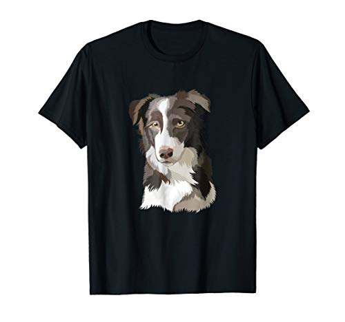 Border Collie Portrait Shirt. Dogs Lover Painting Art