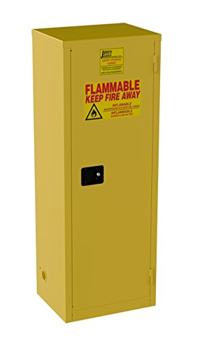 [Jamco Products Inc BA24-YP 24 Gallon Safety Cabinet, for Flammable liquids, Manual Close, One Door, 23-Inch x 18-Inch x 65-Inch] (Flammable Liquids Safety Storage)