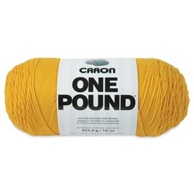 Caron  One Pound Solids Yarn - (4) Medium Gauge 100% Acrylic - 16 oz -  Sunflower- For Crochet, Knitting & Crafting