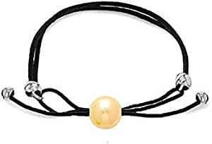 Black Leather Cord Adjustable Bracelet With Golden and Silver Beads for Women