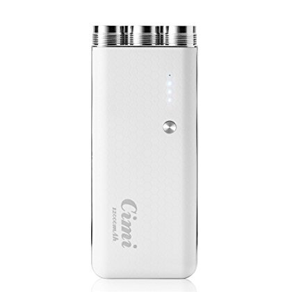 CIMI X2 12000mAh Portable Battery Charger External Battery Power Pack Power Bank with Three Flash Lights for Android iPhone Samsung HTC -White