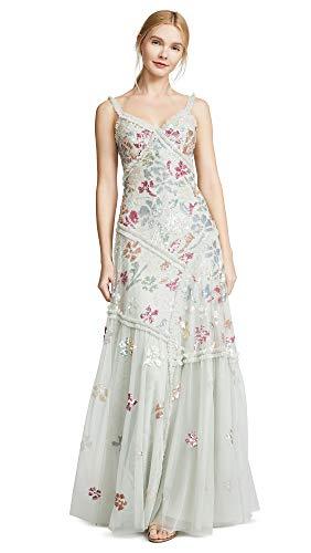 Needle & Thread Women's Deconstructed Sequin Gown, Pistachio, Green, Floral, 0
