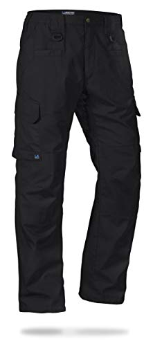 LA Police Gear Men's Water Resistant Operator Tactical Pant with Elastic Waistband Black-36 x 30