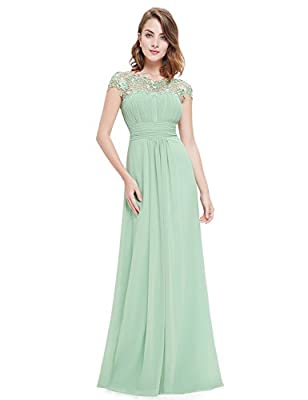 Ever-Pretty Womens Cap Sleeve Lace Neckline Ruched Bust Evening Gown 09993