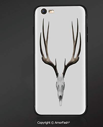 Case for Apple iPhone 6 and iPhone 6s 4.7-Inch,Shock-Absorption Bumper Cover,Antlers Decor,A Deer Skull Skeleton Bone Halloween Weathered Collection Decorative,]()