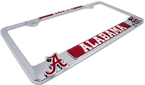 Premium All Metal NCAA Alumni License Plate Frame w/Dual 3D Logos (Alabama)