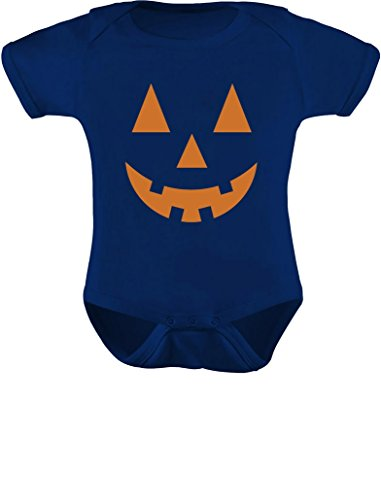 Tstars - Orange Pumpkin Face Jack O' Lantern Halloween Costume Baby Bodysuit NB (0-3M) Navy