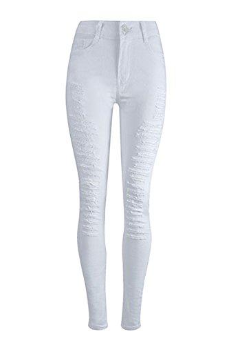 Regular Fanvans Jeans Apretados Stretch Skinny Pantalones Mujer Blanco Leggings qzEzwAgx