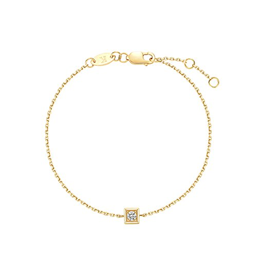 Carleen 18k Solid Yellow Gold Guardian Minimalist Bezel Setting Single Diamond Dainty Bracelet Delicate Fine Jewelry for Women Girls