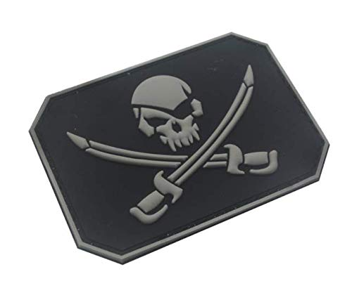 Jolly Roger Pirate Skull & Swords Flag Military PVC Patch Rubber Badges Patch Tactical Stickers for Clothes Back with Hook (color1)