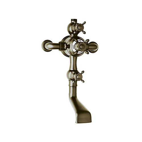 Rohl U.3556X-EB Perrin & Rowe Edwardian Exposed Thermostatic Mixer with Tub Spout & Volume Control Addition with Cross Handle, English - Rowe Shower Mixer Thermostatic Exposed