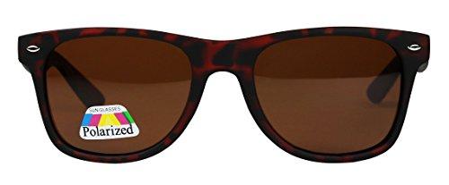 Basik Eyewear - Polarized Retro 80's Classic Wayfarer Driving Matte Sunglasses (Tortoise Frame, Brown - Wayfarer Metal Polarized Flat