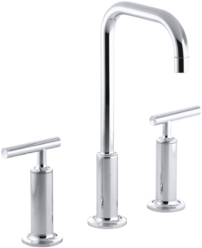 (KOHLER K-14408-4-CP Purist Widespread Lavatory Faucet with High Gooseneck and High Lever Handles, Polished Chrome)
