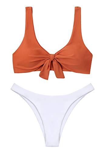 Lemonfish Women's Bikini Swimsuit Tie Knot Front Swimwear Set 2 Pieces Bathing Suits(Caramel,S)