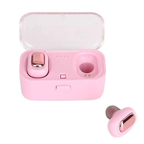 WoCoo True Wireless Headphones, TWS Bluetooth 5.0 Earbuds Earphones,Super-Fast Paring,Built-In Mic - With Charging Box(Girl powder) (Wireless Headphones Igo)