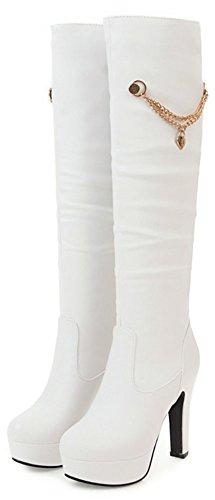 IDIFU Womens Sweet Pendant Platform Pointed Toe Knee High Booties With Heels White bSeYlZ