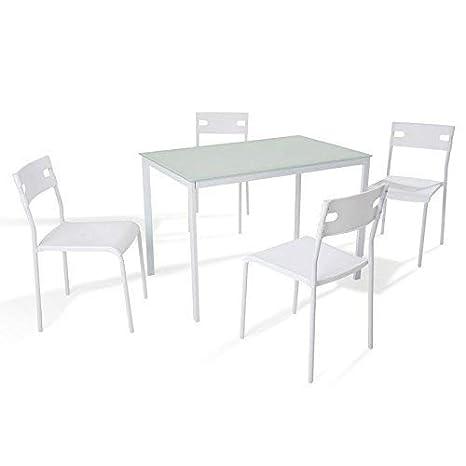 Soliving Alma Ensemble Table Et Chaises Verre Noir 110 X