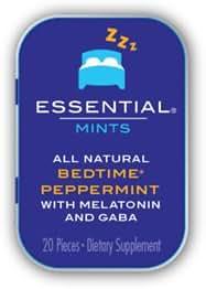 VitaThinQ, Essential Mints, Bedtime Peppermints, Sleep aid with Melatonin and GABA, HFCS Free, Gluten Free, Non GMO, Vegan, GABA and Melatonin Supplement, Eighty Mints