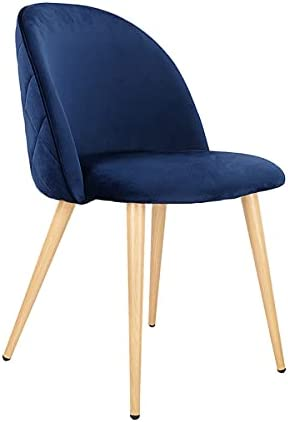 XYYSSM Set of 2 Exquisite Velvet Dining Ear Chair, with Metal Wood Grain Color Legs, Blue A, for Kitchen, Dining, Bedroom, Living Room Side Chairs.