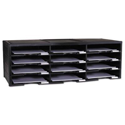 Storex Literature Organizer, 12 Section, 10 5/8 x 13 3/10 x 31 2/5, Black, Sold as 1 Each (Literature Organizer Stackable Compartment)