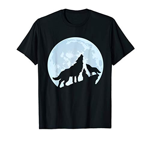Three Wolves Howling At the Moon T Shirt Wolf Lover Gifts ()