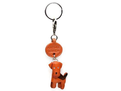 Airedale Terrier Leather Dog Small Keychain VANCA Craft-Collectible Keyring Charm Pendant Made in Japan