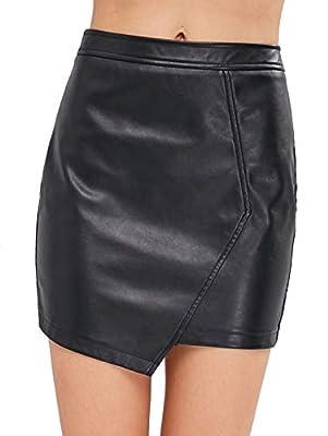 ZAFUL Women's Faux Leather Asymmetrical Mini Skirt High Waisted Zipper Bodycon Pencil Skirt