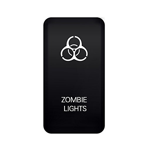 MICTUNING Toyota LED Push Button Switch with Connector Wire Kit- Laser ZOMBIE LIGHTS Symbol -Blue