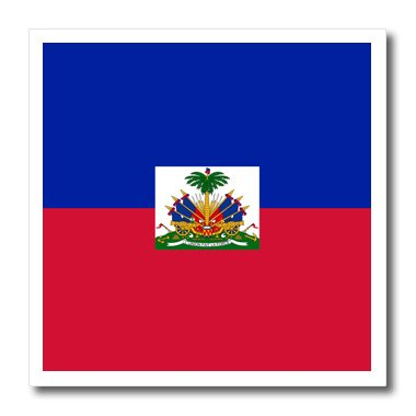 3dRose ht_158327_1 Flag of Haiti Dark Navy Blue & Red with Haitian Coat of Arms Caribbean Country World Souvenir Iron on Heat Transfer Paper for White Material, 8 by 8