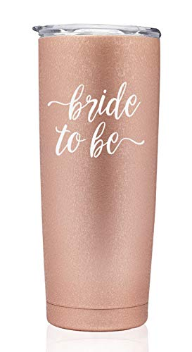 Rose Gold Bride To Be | Bridal Tumblers Bridal Party Gift Engaged Bachelorette Coffee stainless steel mug with lid Bridesmaid (Rose Gold 20oz Tumbler - bride to be) ()