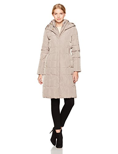 Cole Haan Women's Taffeta Quilted Down Coat With Elasticated Side Waist Detail, Cashew, XS - Quilted Side Zip Coat