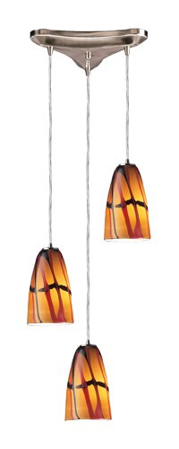 Elk 541-3JAS 3-Light Pendant In Satin Nickel And Jasper - Nickel Jasper