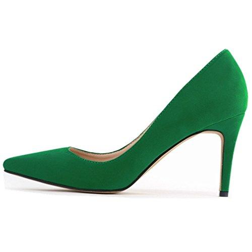 SAMSAY Women's Fashion Pointy Toe High Heels Pumps Dress Shoes Green Velvet ()