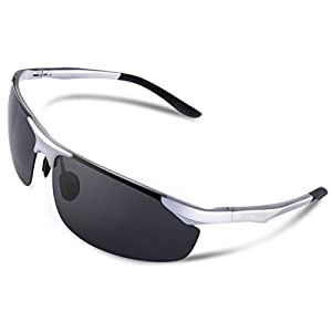 SEEKWAY Mens Sports Polarized Sunglasses for Cycling Running Fishing Driving Golf Unbreakable Metal Glasses SE711 (silver, polarized lens) …