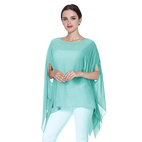 Max Hsuan Women's Loose Solid Sheer Chiffon Caftan Poncho Batwing Tunic Top Blouse Summer Oversized Shirts (Mint - Blouse Mint