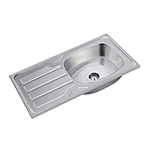 SS Sink Stainless Steel Single with Drain Board (Chrome, 37x18x8 inches)