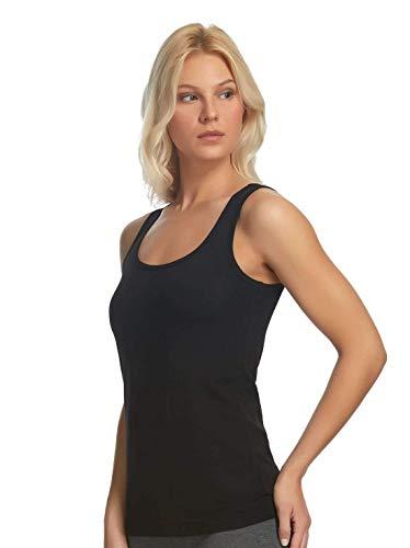 Felina   Cotton Stretch Layering Tank   3 Pack   Loungewear   Sleep   Layering (Medium, Black White Combo) ()