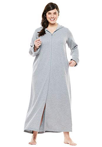 - Dreams & Co. Women's Plus Size Hooded Fleece Robe - Heather Grey, 2X
