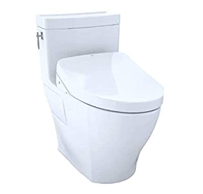 TOTO CST626CEFGT40#01 Aimes WASHLET Elongated 1.28 GPF Universal Height Skirted White-CST626CEFGT40 One-Piece Toilet Cotton White