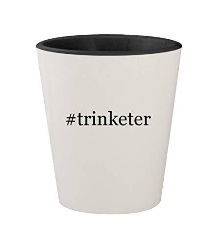 #trinketer - Ceramic Hashtag White Outer & Black Inner 1.5oz Shot Glass
