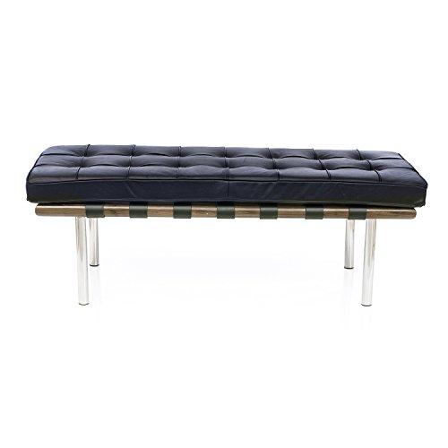 Mies Bench (LCH Barcelona Bench, Premium Italian Leather in Black, High-elastic Soft Foam Cushions, Walnut Solid Wood Frame, Superior Grade Stainless Steel Tubular Legs (Light Walnut) )