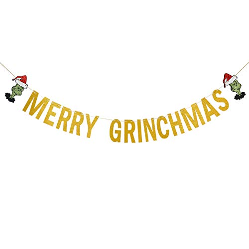 Gold Glittery Merry Grinchmas Banner- Christmas Holiday Party Decorations,Mantle Home Decor,Xmas Party Sign Decor (For Decor Mantle Christmas)