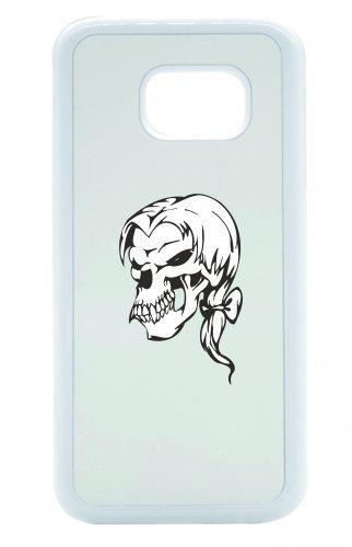 """Smartphone Case Apple IPhone 6+/ 6S Plus """"Totenschädel mit eleganten Haaren Skelett Rocker Motorradclub Gothic Biker Skull Emo Old School"""" Spass- Kult- Motiv Geschenkidee Ostern Weihnachten"""