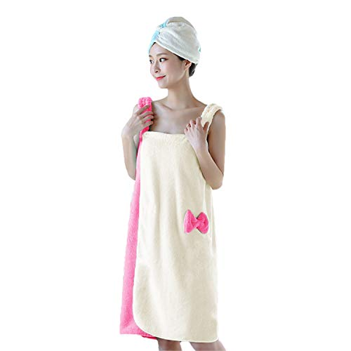 Ylucky Women Shower Body Towel Wrap Spa Bath Apron Skirt Water Uptake Fast Drying Sauna Beach Pool Terry Robe Travel Bathing Tube Dress Sleepwear Nightgown Soft Cover Up Home Hotel Bathrobes ()