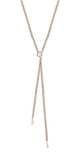 Round Shape White Natural Diamond Lariat Pendant In 14k Rose Gold (0.10 cttw) - 0.10 Cttw Natural