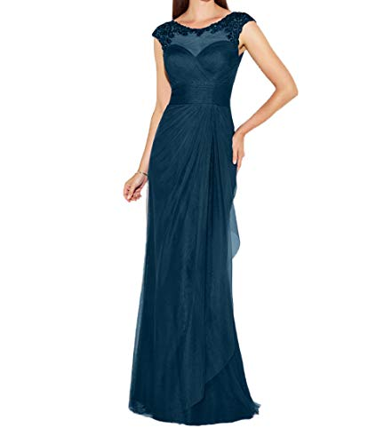 Etuikleider Charmant Promkleider Brautmutterkleider Hundkragen Spitze Kleider Lang Dunkel Blau Chiffon Abendkleider Damen fnfBqH