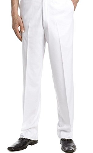 Ginoken Men's Premium Slim Fit Dress Slacks Pants Trousers Mens White Slacks