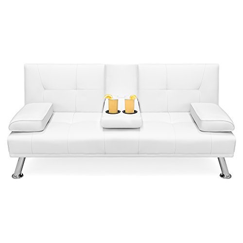 (Best Choice Products Modern Faux Leather Convertible Futon Sofa Bed Recliner Couch w/Metal Legs, 2 Cup Holders - White)