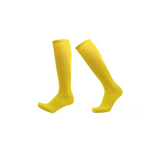 フォアマン人工醜いSawors 3足セット サッカーストッキング メンズ ハイソックス 弾力性 無地 滑り止め付 スポーツソックス 運動用靴下 5色(ブラック/ホワイト/レッド/イエロー/グリーン)